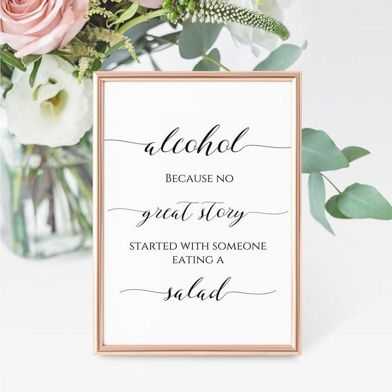 Wedding Bar Sign Template Alcohol Salad Sign Alcohol Wedding Sign Printable Wedding Bar Sign Funny Wedding Sign