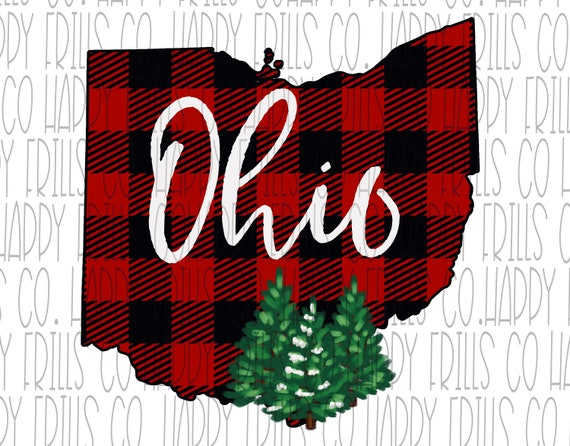 ohio buffalo plaid with christmas tree outline png instant etsy