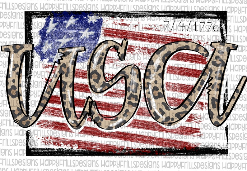 USA in camo and leopard designs Digital image png instant download for sublimation Sublimate