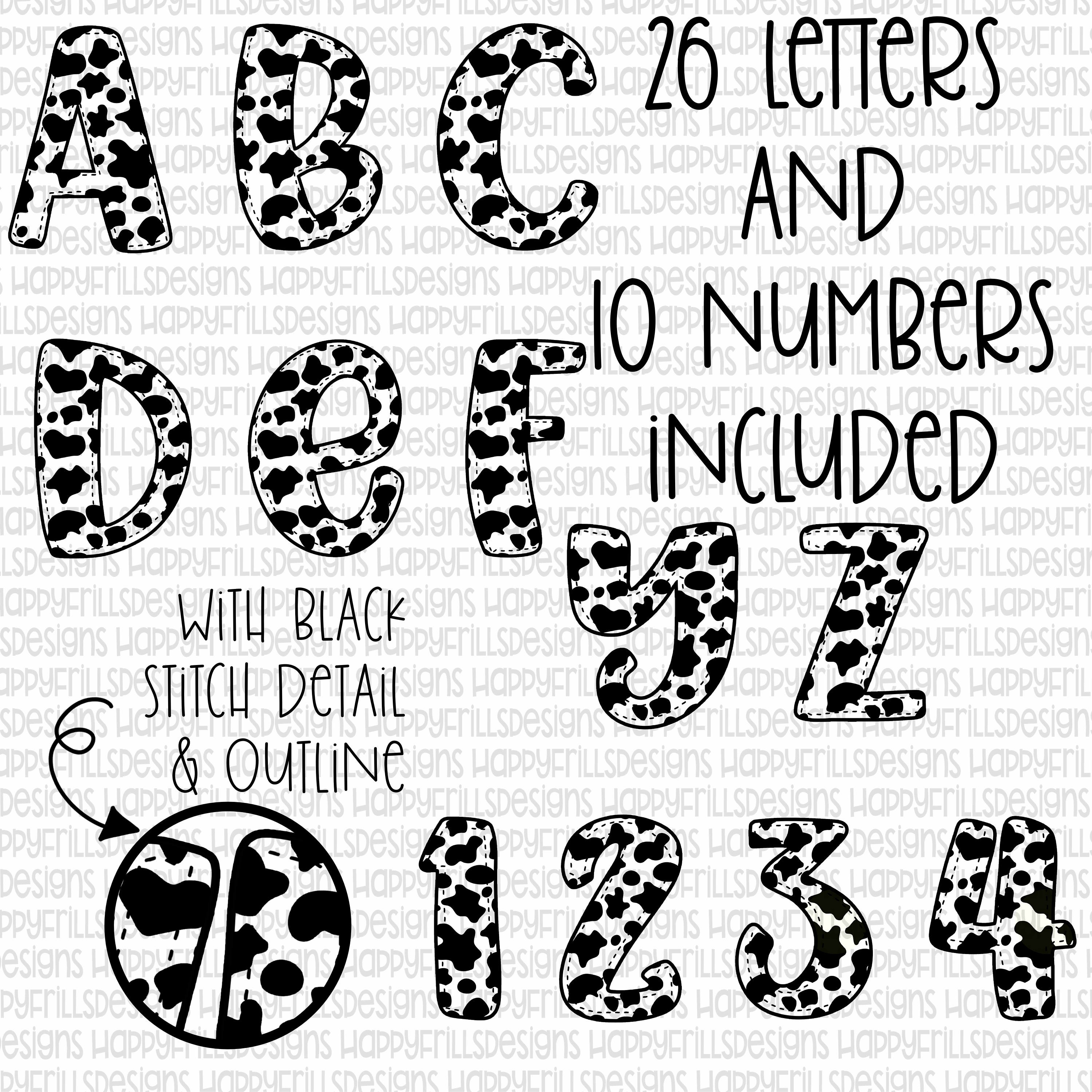 Cow print alphabet set frames, uppercase letters & numbers collage
