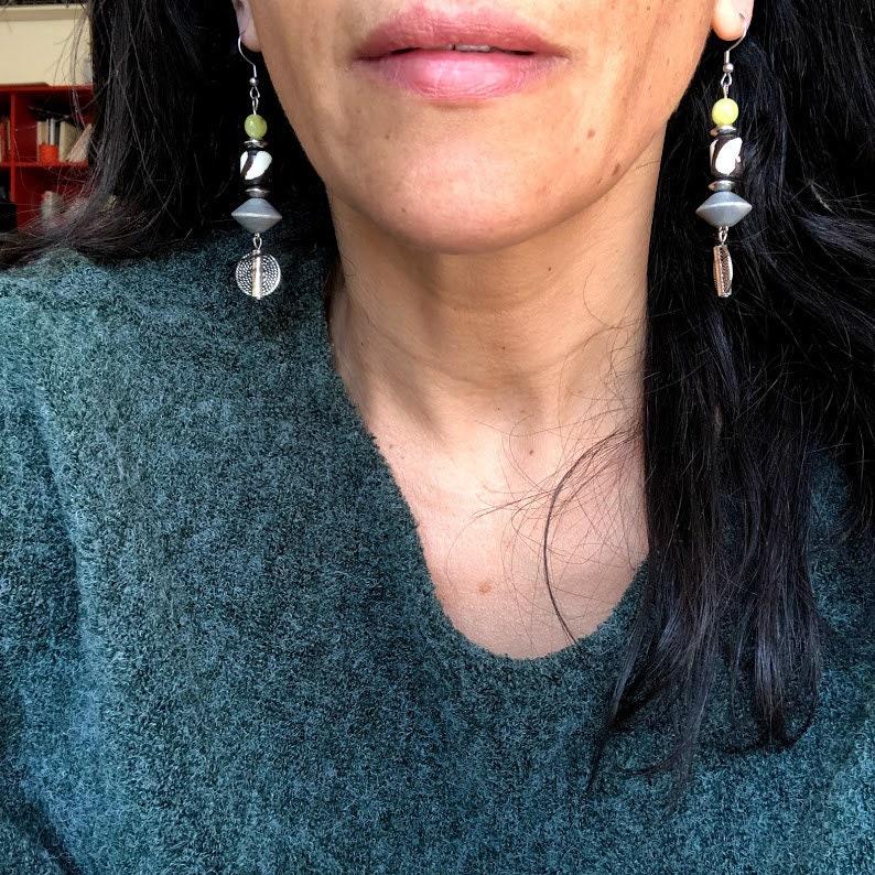 Pendant earrings Peridot earrings Trendy earrings Unique Beaded earrings Bohemian earrings Birthstone jewelry Colorful Long earrings