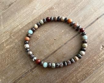 Man Bead bracelet, Men's Healing Beaded Bracelet, Stretch Bracelet, Stone Bead Bracelet, Surfer Bracelet