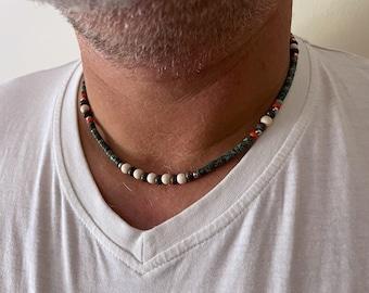 Turquoise Men's Bead necklace, Surfer necklace, Stone necklace for men, Gift for men, Boyfriend beach necklace, Man Hippie Necklace