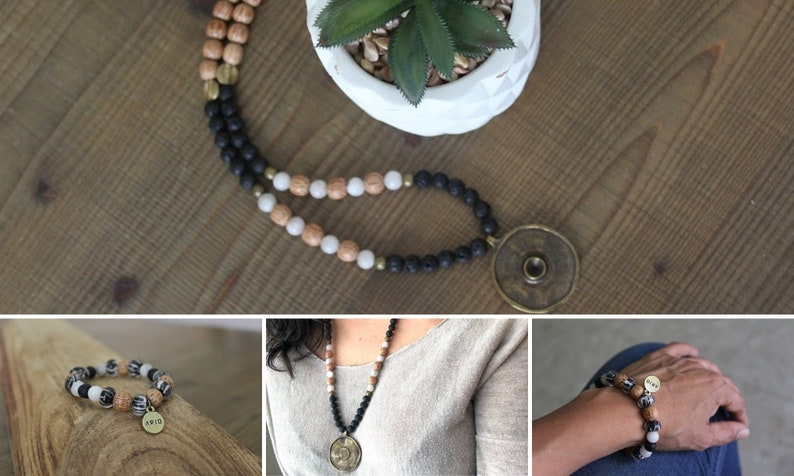 Bohemian necklace Beaded Gemstones Black/&white set Bohemian bracelet Monochrome jewelry Chunky Bohemian jewelry Bohemian jewelry set