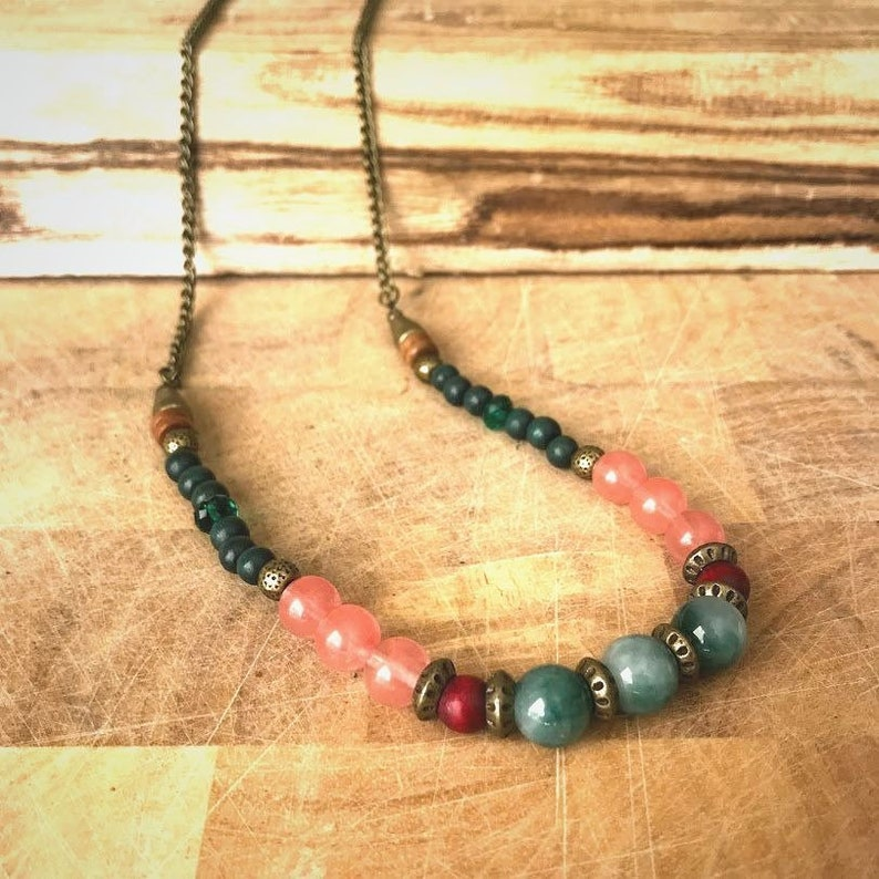 birthstone jewelry Bohemian Gemstones necklace ,Rose Quartz Beaded colorful necklace Women statement necklace Long chunky necklace