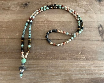 Arambol Men's Long necklace with Tiger's Eye, Jasper and Shells , Beaded Mala necklace, Beach Necklace, Surfer Gift, Boyfriend Gift