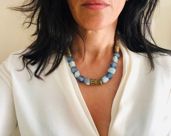 Chunky necklace, Aquamarine Statement necklace with recycle glass, Bohemian necklace, Bold necklace for woman, Mother's Day Gift