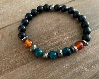 Men's Bead Bracelet, Stone Bracelet, Blue and Orange Bracelet, Men's gifts Ideas, Men's Jewelry, Surfer Jewelry