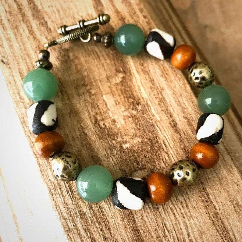 Beaded bracelet Aventurine bracelt Stacking bracelet African Bone Boho bracelet Women Colorful bohemian bracelet Gemstones bracelet
