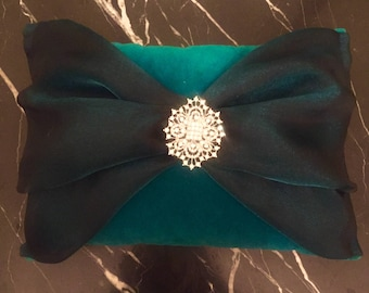 Deep Teal Velour and Crystal Pillow