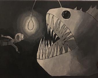 """Angler Fish Painting Print 8x10"""""""