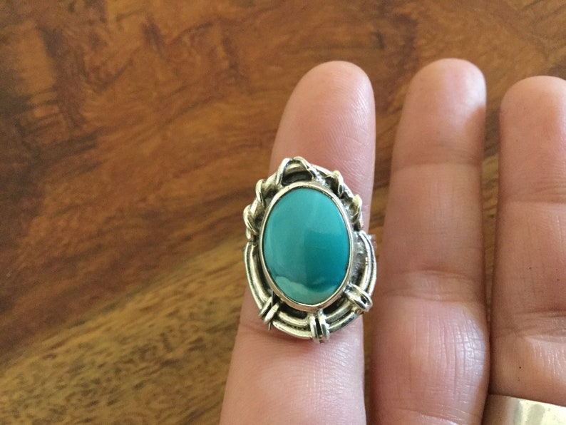 Silver ring and Larimar