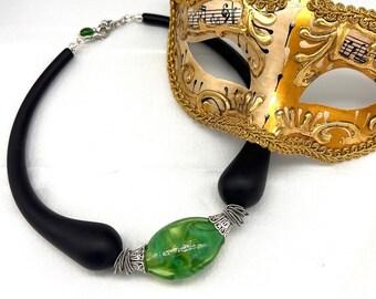 Venetian, Murano Blown Glass, Borgo Necklace, Black, Green, Modern, Eclectic, Unique