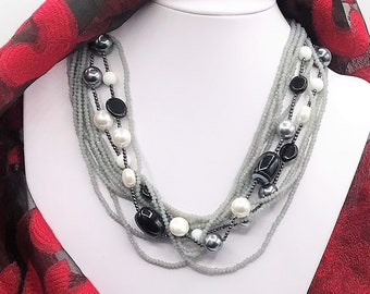10 Strand, Grey Crystal, Black Agate, Faux Grey White Pearl Necklace, Neutral, Classic