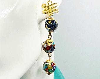 Murano Venetian Blown Glass, Klimt Style Earrings, Colorful, Artsy, Whimsical