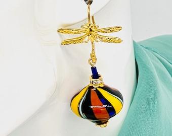 Murano Venetian Blown Glass Earrings, Dragon Fly Ear Wire, Carnival, Whimsical, Colorful