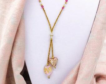 Murano Venetian Glass Pink Gold Lariat Necklace Heart, Gift