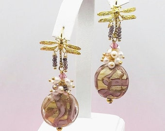 Murano Venetian Pink, Gold Glass with  Dragonfly Post Earrings