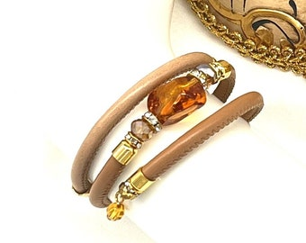Murano Venetian Glass and Leather Bracelet, Wrap Around, Camel Brown
