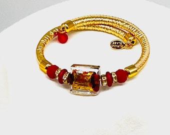 Venetian Murano  Glass, Gold Leather, Red ,Wrap Around Bracelet. Boho Chic