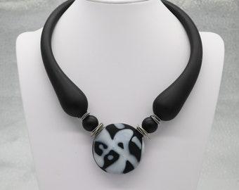Murano, Venetian Boro, Black, Grey, Bold, Blown Glass Necklace, Eclectic, Unique,