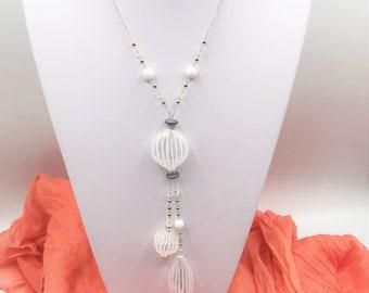 White Stripe Murano, Venetian Blown Glass Lariat Necklace, Summer, Light