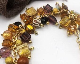 Murano Venetian Hand Blown Glass Charm Bracelet Gold & Plum