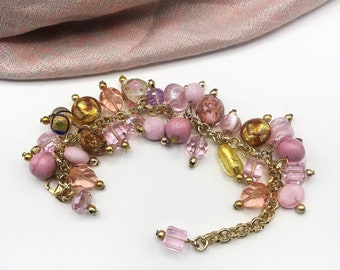 Murano Venetian Glass Charm Bracelet Pink and Gold, Gift