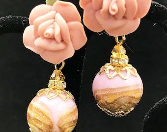 Murano Venetian Pink Glass Earrings, Pink Rose Post