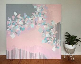 "40"" x 40"" Original Abstract Painting - Crystallised series 'pink & grey' by Sarah McIntosh"