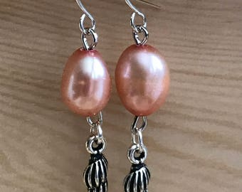 Earrings, Pink, Pearl, Seashell