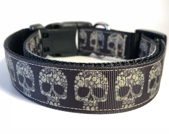 """Handcrafted 1"""" Floral/Paisley Sugar Skull Patterned Dog Collar"""