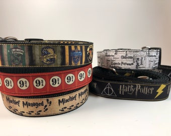 "Handcrafted 1"" Harry Potter Inspired Dog Collar"