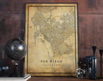 Vintage San Diego Map.San Diego Map Etsy