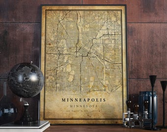 Old map minneapolis   Etsy
