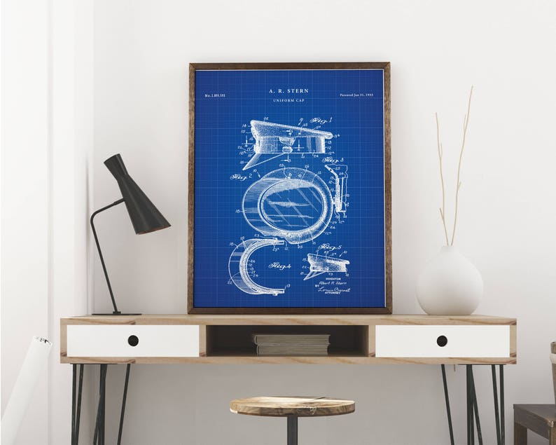 picture about Printable Police Hat titled Law enforcement hat patent print artwork - Typical printable patent poster art drawing - Fast Electronic obtain - Wall artwork decor - Blueprint