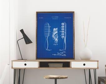 Brush Printables, Vintage Hair Brush, Girls Room Wall Decor, Vanity Decor, Hair Salon Art - Wall art decor - Blueprint