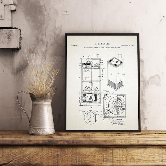 Leslie Speaker | Leslie Poster | Organ | Organ Blueprint | Hammond B3 Organ  | Hammond | Music Room Wall Art | Musician Art Gift| P534
