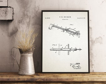 Spear Gun Patent Print | Fishing Spear Poster | Angling Decor | Hunting Poster | Diver Gift| Poster Printable Wall Art| Blueprint | P525
