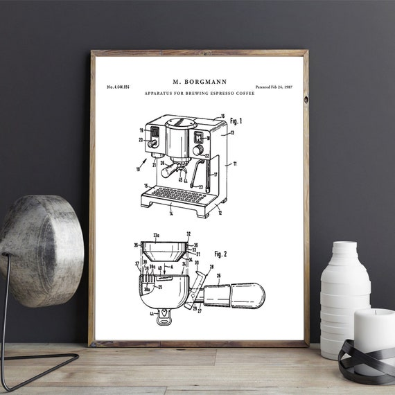 Espresso coffee maker patent print printable blueprint art malvernweather Image collections