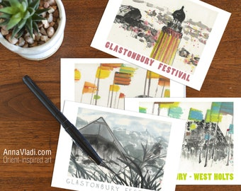 Glastonbury Festival Postcards — Set of 4, printed from my original sumi-e art (Pyramid Stage, West Holts Stage, Park Stage, Ribbon Tower)