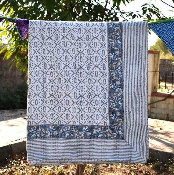 Dungri blue handmade kantha quilt sari blanket throws rustic bed sheets bed spreade boho kantha blanket queen size blanket