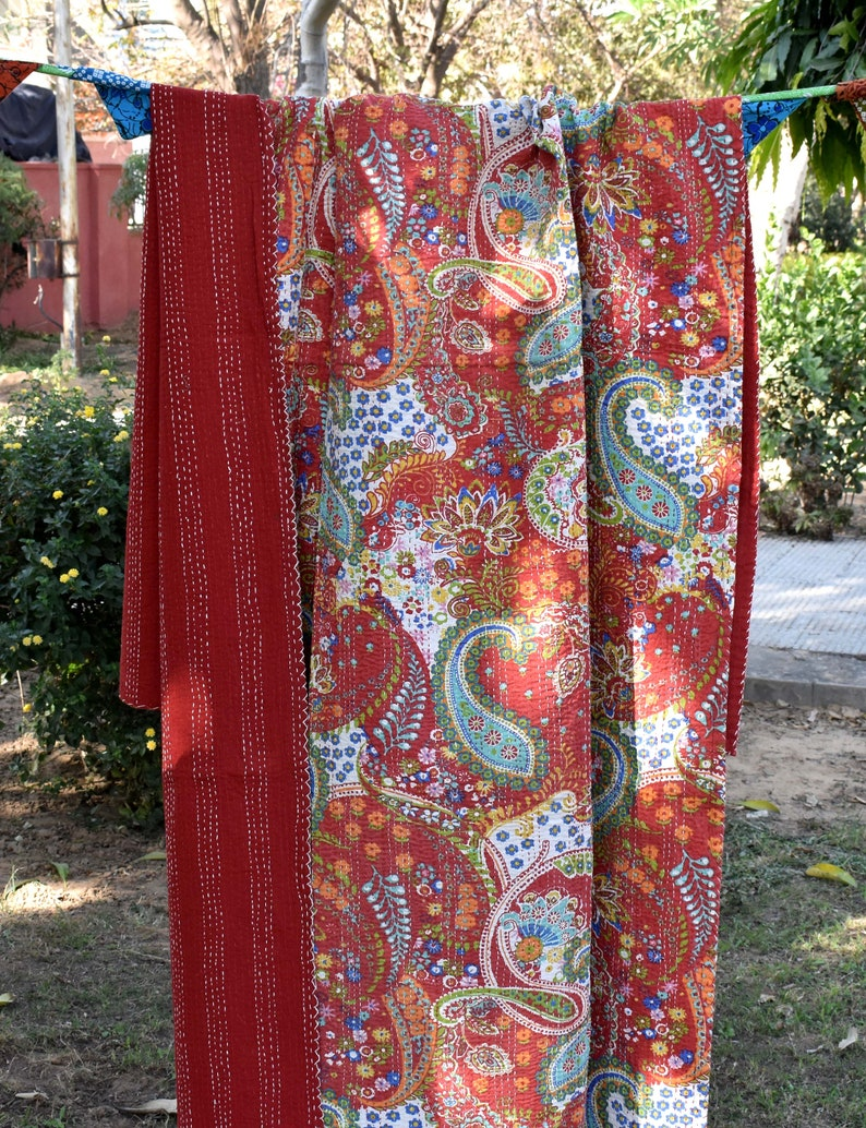 boho sari blanket bed spreade queen size blanket throws Indian handmade kantha quilt kantha blanket bed sheets rustic