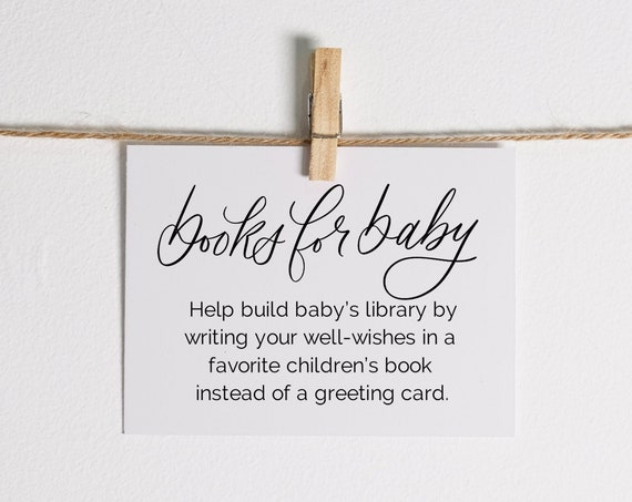Books for Baby pdf, INSTANT DOWNLOAD, Gender Neutral, For a girl, For a boy, Baby Shower Request for books Printable Cards