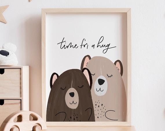 Time for a Hug Nursery Artwork - Kids Room Print - Nursery Wall Art - Wall Decor - Play Room Wall Decor - Bear Hug - Printable Art