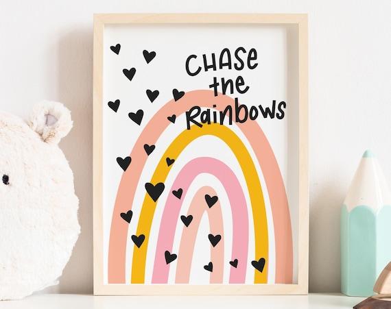 Boho Rainbow Artwork - Nursery Print -Printable Nursery Art, Nursery Wall Art, Hippie Baby Room, Wall Decor Girls Room Art -Digital Download