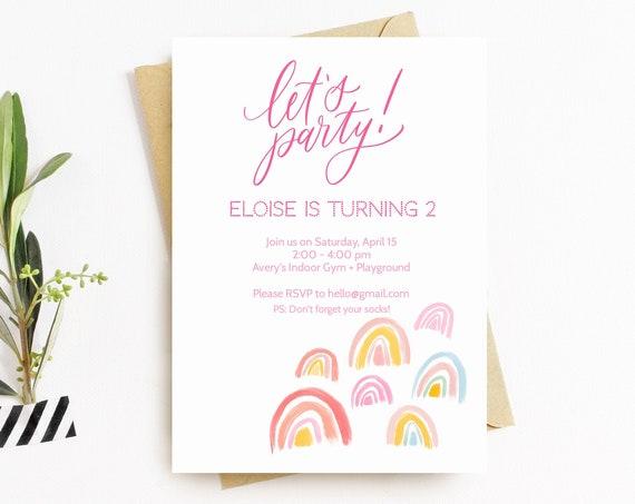 Printable Rainbow Birthday Invitation, Boho Birthday Invitation Template, Modern Rainbow Invite, Printable Invitation Instant Download
