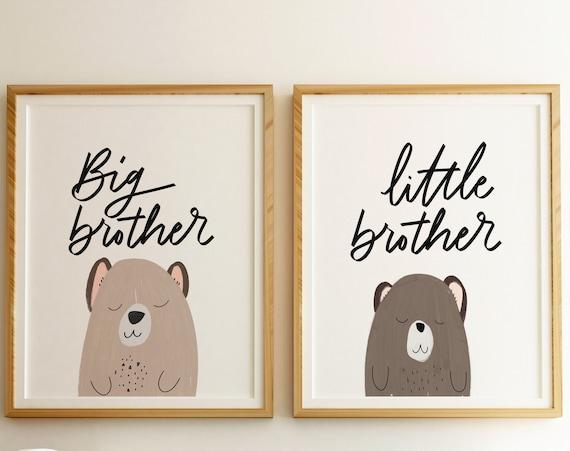 Big Brother Little Brother Printable Set - DIY Nursery Printable, Nursery Art, Digital Download Baby Room Decor, Home Decor - Boys Room Art