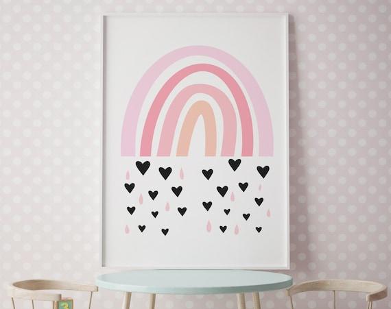 Pink Rainbow Artwork - Nursery Print - Printable Nursery Art, Nursery Wall Art, Hippie Baby Room, Wall Decor Girls Room Art -Digital