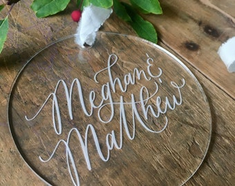 Couples Gift Christmas Ornament - Newlywed Gift - Personalized Newlywed gift -  Modern Christmas Ornaments